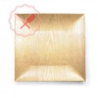 Plato Plástico Oro Cuadrado