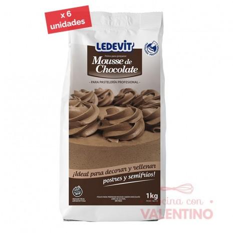 Mousse Chocolate Ledevit - 1 Kg - Pack 6 Un.