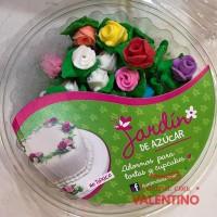Adorno Azucar Rosa Mini C/ Hoja x 50u