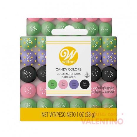 Set Colorantes Liposolubles Wilton - Verde. Rosa. Violeta y Negro