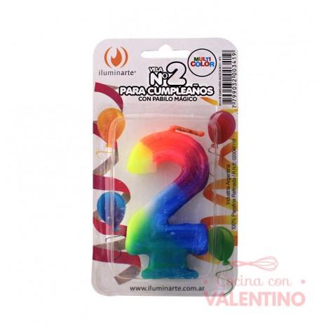 Vela Numero Multicolor - 1 unidad
