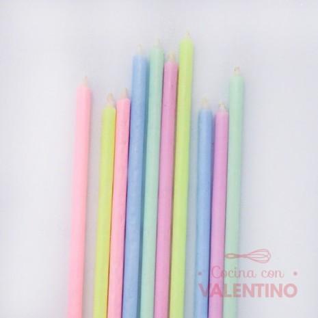 Velas Colores Pasteles x 1 unidad