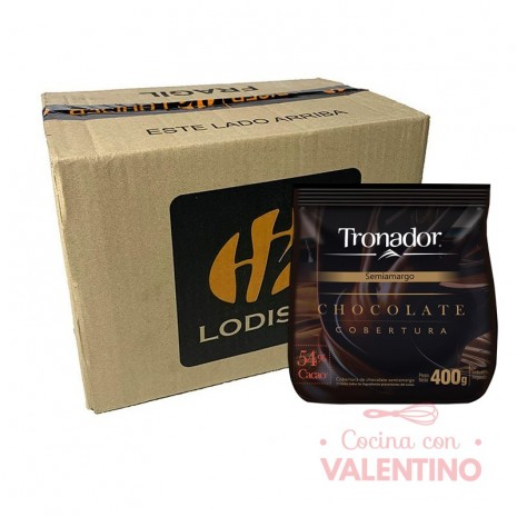 Chocolate Cobertura Semiamargo Tronador - 400Grs - Pack 12 Un.