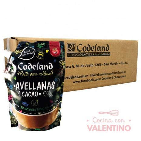 Pasta Relleno Avellana y Cacao Codeland 500Grs - Pack 8 Un.