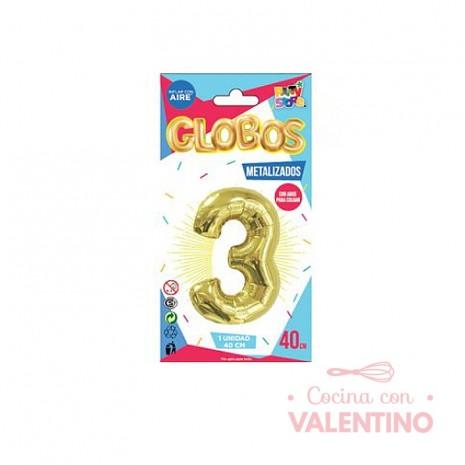 Globo Metalizado Chico 40 Cm - Dorado N.3