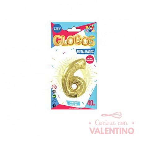 Globo Metalizado Chico 40 Cm - Dorado N.6