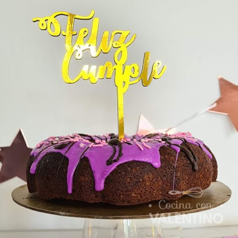 Topper Feliz Cumple Simple / Cursiva