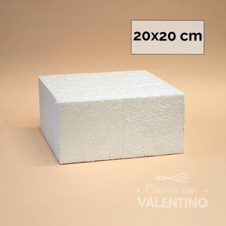Torta Falsa Telgopor Cuad. MD - 10cm Alto - 20x20cm