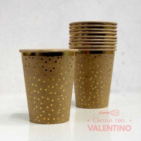 Vasos de Polipapel KRAFT con detalle dorado x10u