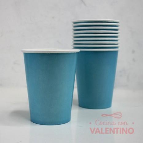 Vasos de Polipapel Color Celeste x10u