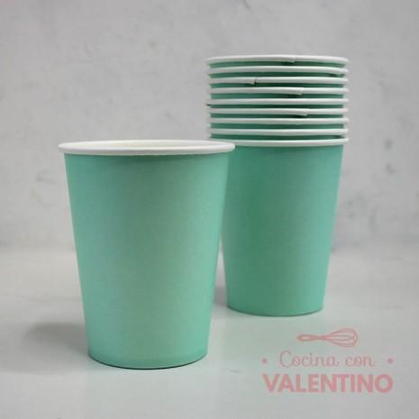 Vasos de Polipapel Color Aqua x10u