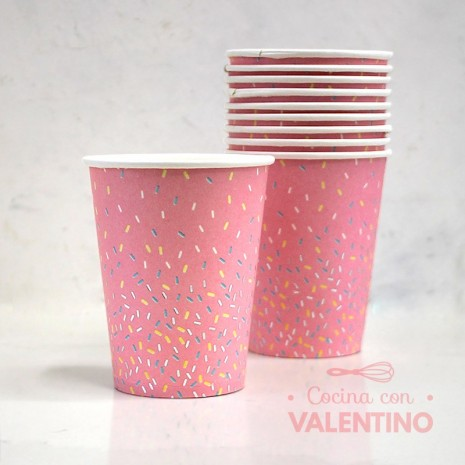 Vasos de Polipapel Línea pastel chispas Gold Rosa x10u
