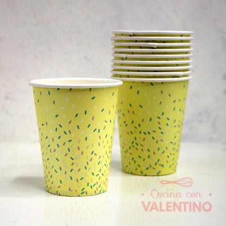 Vasos de Polipapel Línea pastel chispas Gold Amarillo x10u