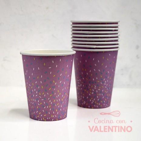 Vasos de Polipapel Línea pastel chispas Gold Lila x10u