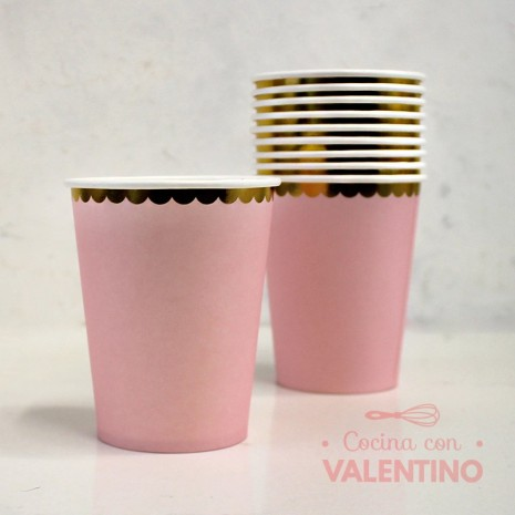 Vasos de Polipapel Rosa con Borde Dorado x10u