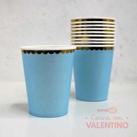 Vasos de Polipapel Celeste con Borde Dorado x10u