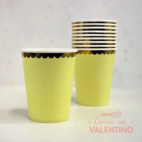 Vasos de Polipapel Amarillo con Borde Dorado x10u