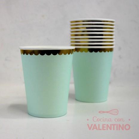Vasos de Polipapel Aqua con Borde Dorado x10u