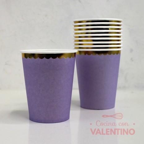 Vasos de Polipapel Lila con Borde Dorado x10u