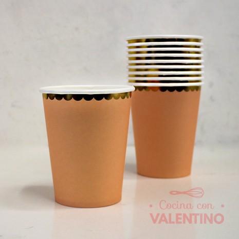 Vasos de Polipapel Salmon con Borde Dorado x10 u