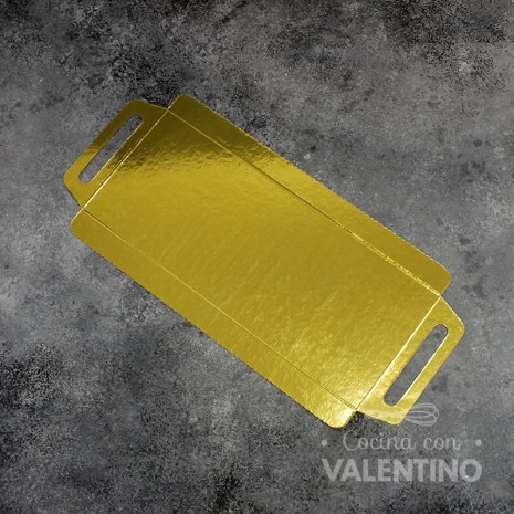 Bandeja c/asas oro/plata 12x30 cm.
