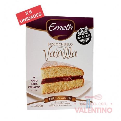 Premezcla Bizcochuelo de Vainilla Sin Tacc Emeth - 500Grs - Pack 6 Un.