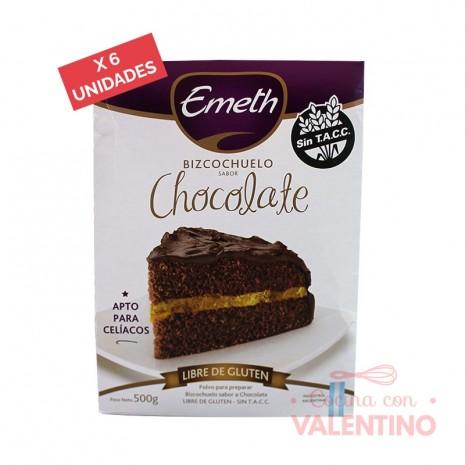 Premezcla Bizcochuelo de Chocolate Sin Tacc Emeth - 500Grs - Pack 6 Un.