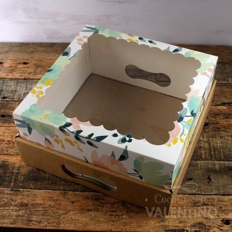 Caja Desayuno Visor con flores 25x25x12