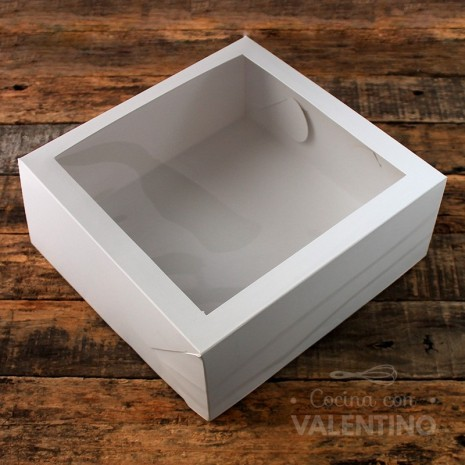 Caja Desayuno Blanca con Visor 22x22x10