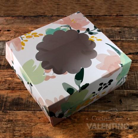 Caja Box Visor con flores 24x24x11