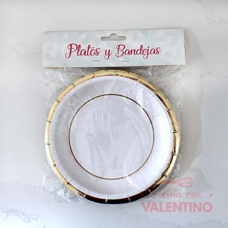 Plato de Polipapel Redondo Blanco con guarda oro x10u