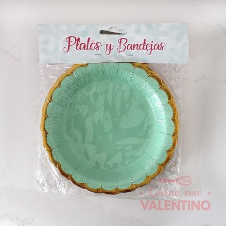 Plato Scallop Verde con borde dorado x10u