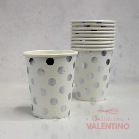 Vaso de Polipapel con Lunares Plateados x10u