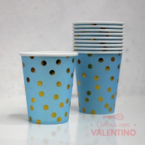 Vaso de Polipapel Color Celeste Lunares Dorados x10u