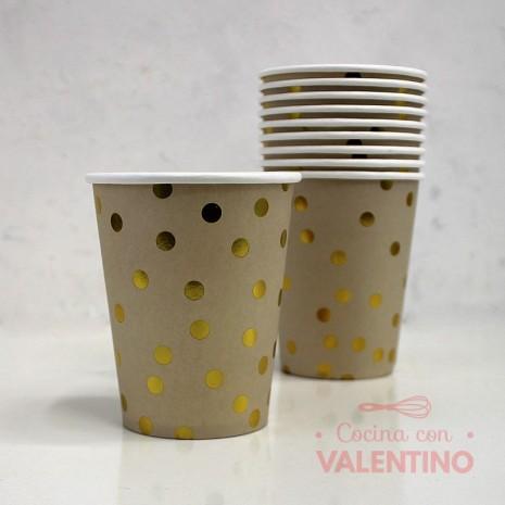 Vaso de Polipapel Color Beige Lunares Dorados x10u