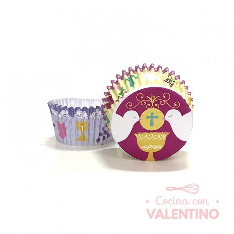 Pirotines N°8 Comunión - Palomas Fondo Violeta - 15u. MoldPack