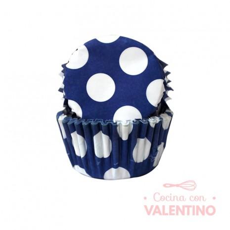 Pirotines N°10 Con lunar blanco grande - Azul - 25u. Convida