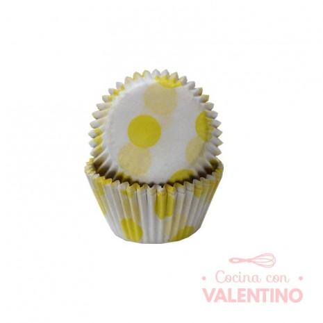 Pirotines N°8 Blancos con lunares amarillos - 15u. Configraf