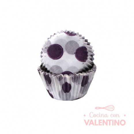 Pirotines N°8 Blancos con lunares violetas - 15u. Configraf
