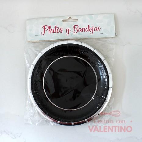 Plato de Polipapel Redondo Negro con guarda plata x10u