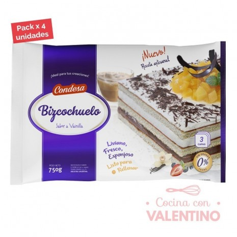 Bizcochuelo Rect. Capas Vainilla Condesa - 750Grs - Pack 4 Un.