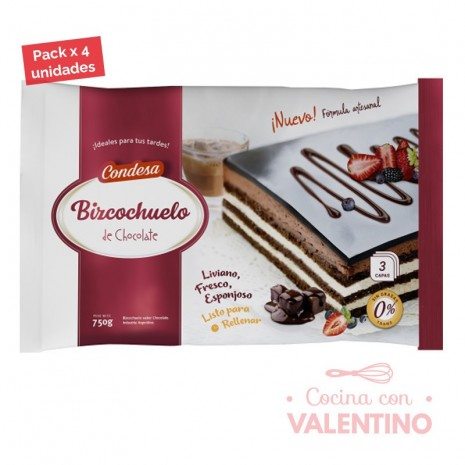 Bizcochuelo Rect. Capas Chocolate Condesa - 750Grs - Pack 4 Un.