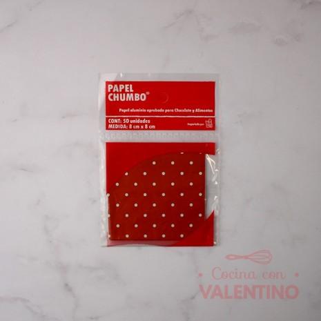 Papel Chumbo 8x8cm - Rojo con Puntitos Blancos