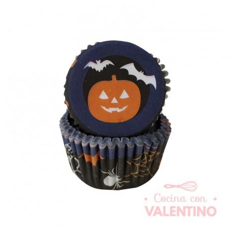 Pirotines N°10 Halloween - Calabaza y murcielagos - Azul y negro - 25u. Convida