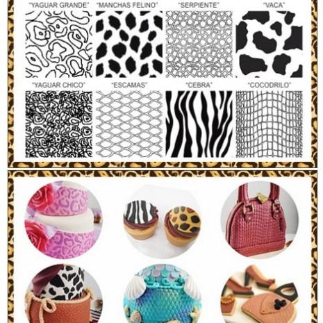 Laminas Texturadoras Animal Print 8U Parpen -Bulto