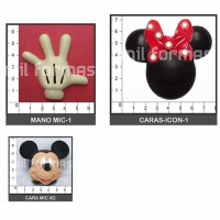 Molde Flexible Cara/Mano Mickey/Minnie