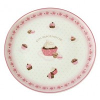 Base Torta Porcelana Bca Red 24cm Deco. Cupcake
