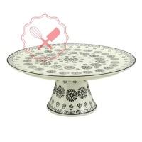 Base Torta Porcelana Flores Negras 30cm