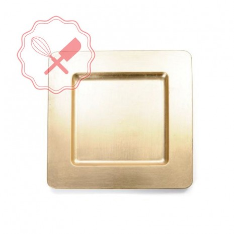 Plato Plast. Oro Cuadrado Con Borde Liso