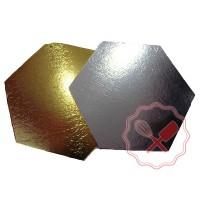 Disco Formato Hexagono Oro/Plata - 19Cm